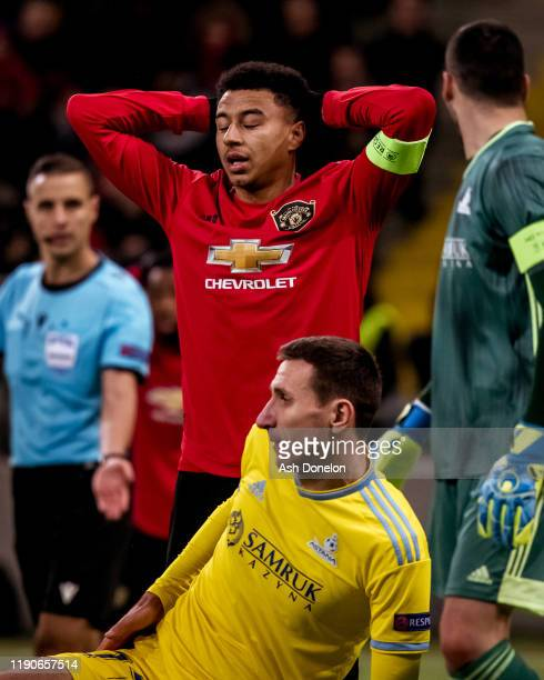 Jesse Lingard of Manchester United in action during the UEFA Europa League group L match between FK Astana and Manchester United at Astana Arena on...