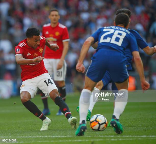 Jesse Lingard of Manchester United in action with Cesar Azpilicueta of Chelsea during the Emirates FA Cup Final match between Manchester United and...