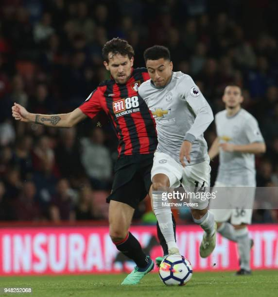 Jesse Lingard of Manchester United in action with Charlie Daniels of AFC Bournemouth during the Premier League match between AFC Bournemouth and...