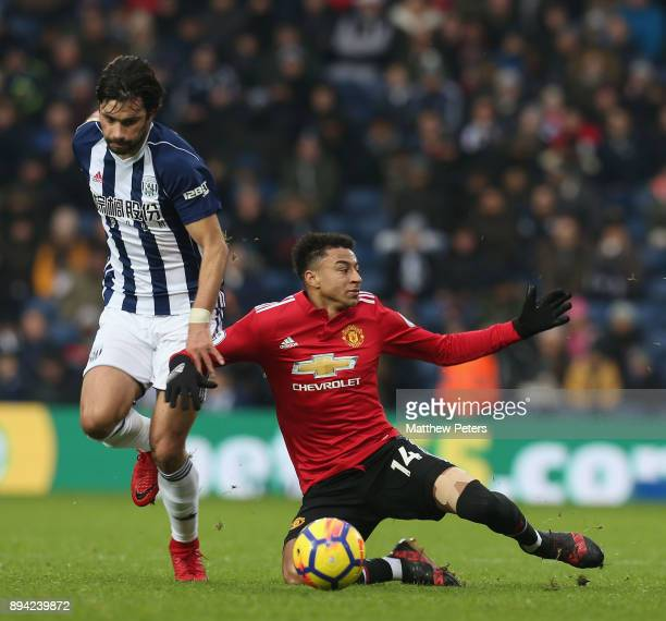 Jesse Lingard of Manchester United in action with Claudio Yacob of West Bromwich Albion during the Premier League match between West Bromwich Albion...