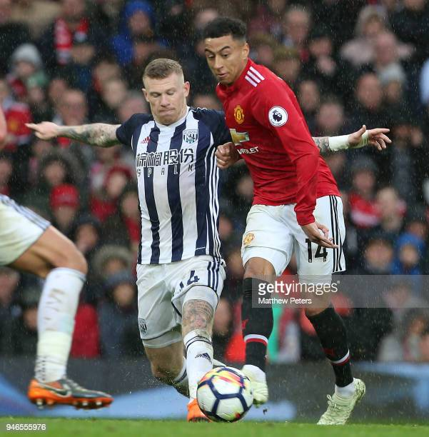 Jesse Lingard of Manchester United in action with James McClean of West Bromwich Albion during the Premier League match between Manchester United and...