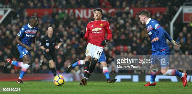 Jesse Lingard of Manchester United in action with Josh Tymon of Stoke City during the Premier League match between Manchester United and Stoke City...