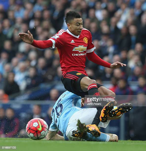 Jesse Lingard of Manchester United in action with Martin Demichelis of Manchester City during the Barclays Premier League match between Manchester...