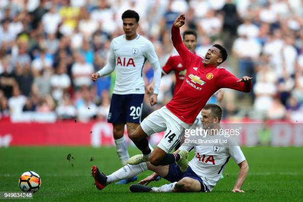Jesse Lingard of Manchester United is challenged by Eric Dier of Tottenham Hotspur during The Emirates FA Cup Semi Final match between Manchester...