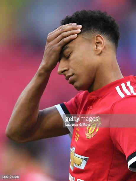 Jesse Lingard of Manchester United looks dejected following The Emirates FA Cup Final between Chelsea and Manchester United at Wembley Stadium on May...