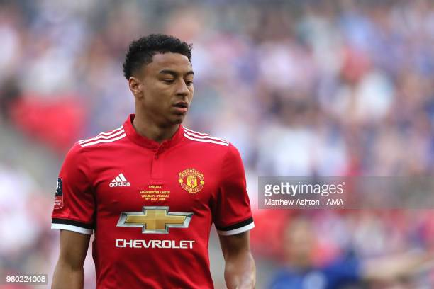 Jesse Lingard of Manchester United looks on during the Emirates FA Cup Final between Chelsea and Manchester United at Wembley Stadium on May 19 2018...