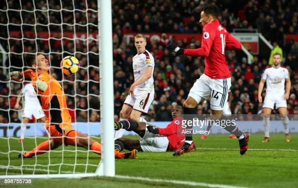 Jesse Lingard of Manchester United misses a chance for Manchester United during the Premier League match between Manchester United and Burnley at Old...