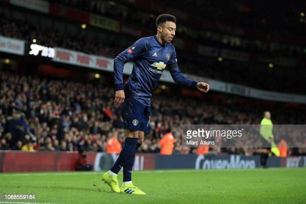 Jesse Lingard of Manchester United moonwalks as he celebrates their 2nd goal during the FA Cup Fourth Round match between Arsenal and Manchester...