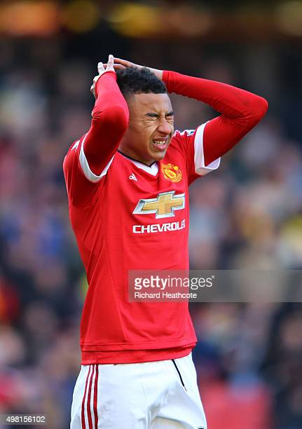 Jesse Lingard of Manchester United reacts after missing a chance during the Barclays Premier League match between Watford and Manchester United at...