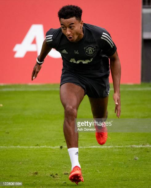 Jesse Lingard of Manchester United reacts during a training session at RheinEnergieStadion on August 15 2020 in Cologne Germany