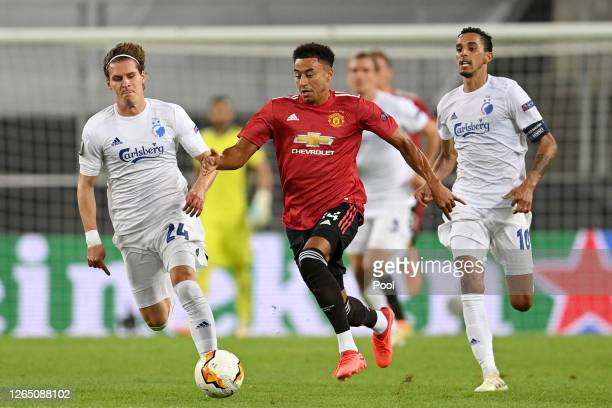 Jesse Lingard of Manchester United runs with the ball during the UEFA Europa League Quarter Final between Manchester United and FC Kobenhavn at...