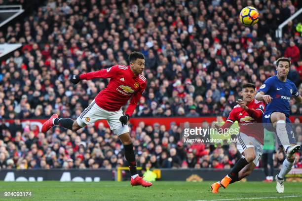 Jesse Lingard of Manchester United scores a goal to make it 21 during the Premier League match between Manchester United and Chelsea at Old Trafford...