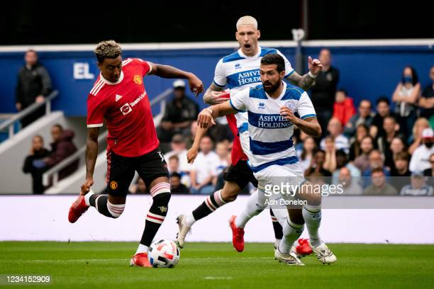 Jesse Lingard of Manchester United scores a goal to make the score 0-1 during the pre-season friendly match between Queens Park Rangers and...