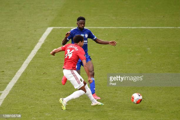 Jesse Lingard of Manchester United scores his sides second goal during the Premier League match between Leicester City and Manchester United at The...