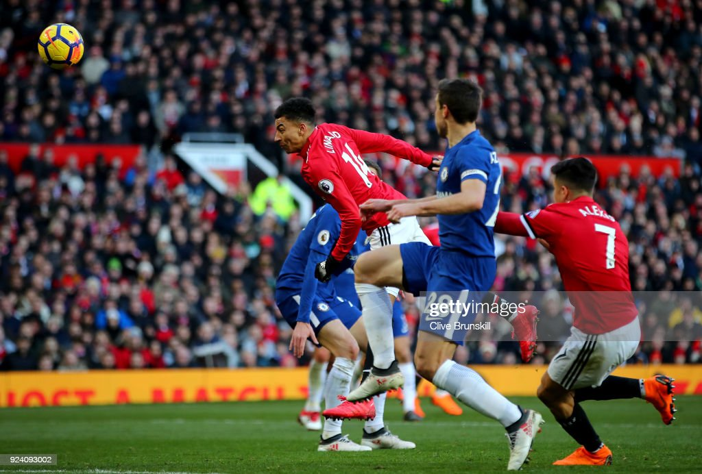 Jesse Lingard of Manchester United scores his sides second goal during the Premier League match between Manchester United and Chelsea at Old Trafford on February 25, 2018 in Manchester, England.