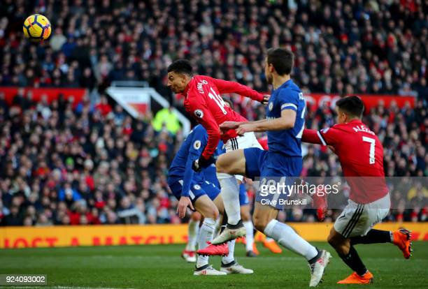 Jesse Lingard of Manchester United scores his sides second goal during the Premier League match between Manchester United and Chelsea at Old Trafford...