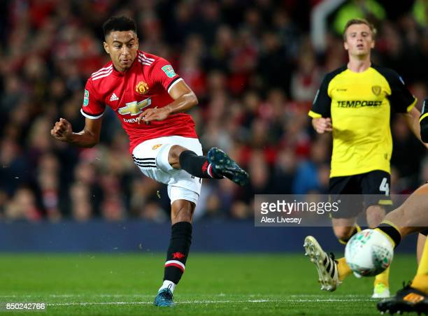 Jesse Lingard of Manchester United scores his sides third goal during the Carabao Cup Third Round match between Manchester United and Burton Albion...