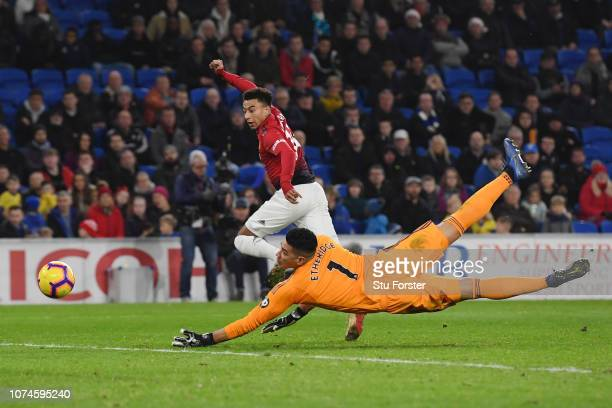 Jesse Lingard of Manchester United scores his team's fifth goal during the Premier League match between Cardiff City and Manchester United at Cardiff...