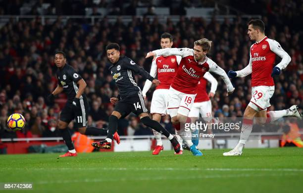 Jesse Lingard of Manchester United scores his teams second goal during the Premier League match between Arsenal and Manchester United at Emirates...