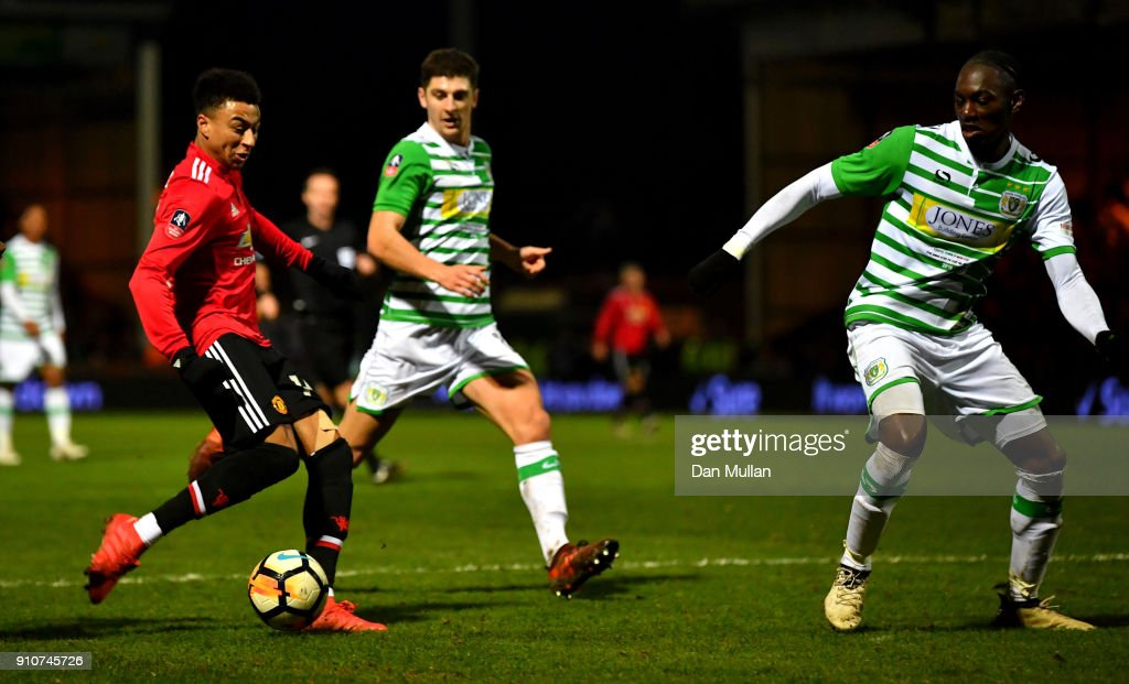 Jesse Lingard of Manchester United scores the 3rd Manchester United goal during The Emirates FA Cup Fourth Round match between Yeovil Town and Manchester United at Huish Park on January 26, 2018 in Yeovil, England.