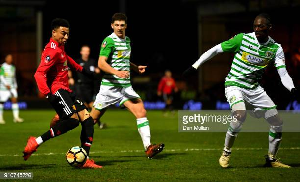 Jesse Lingard of Manchester United scores the 3rd Manchester United goal during The Emirates FA Cup Fourth Round match between Yeovil Town and...