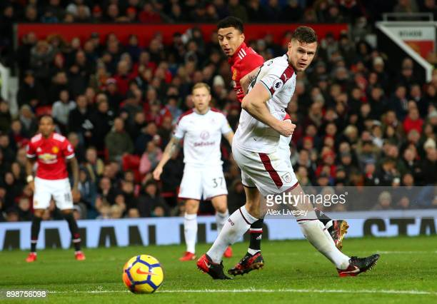 Jesse Lingard of Manchester United scores the first Manchester United goal during the Premier League match between Manchester United and Burnley at...