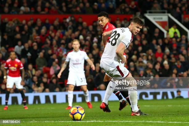 Jesse Lingard of Manchester United scores the first Manchester United goal past Kevin Long of Burnley during the Premier League match between...