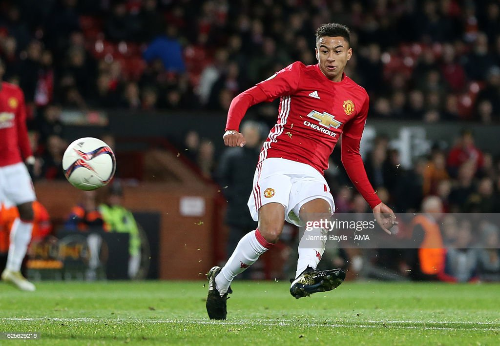 Jesse Lingard of Manchester United scores the fourth goal to make the score 4-0 during the UEFA Europa League match between Manchester United FC and Feyenoord at Old Trafford on November 24, 2016 in Manchester, England.