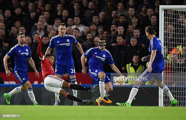 Jesse Lingard of Manchester United scores the opening goal during the Barclays Premier League match between Chelsea and Manchester United at Stamford...