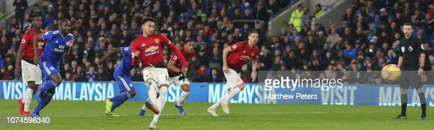 Jesse Lingard of Manchester United scores their fifth goal during the Premier League match between Cardiff City and Manchester United at Cardiff City...