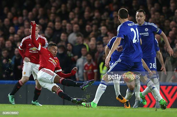 Jesse Lingard of Manchester United scores their first goal during the Barclays Premier League match between Chelsea and Manchester United at Stamford...