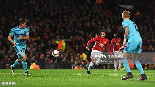 Jesse Lingard of Manchester United scores their fourth goal during the UEFA Europa League Group A match between Manchester United FC and Feyenoord at...