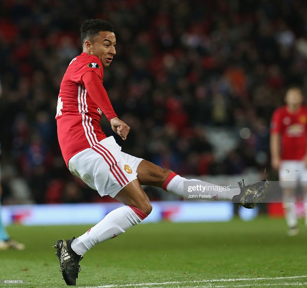 Jesse Lingard of Manchester United scores their fourth goal during the UEFA Europa League match between Manchester United FC and Feyenoord at Old Trafford on November 24, 2016 in Manchester, England.