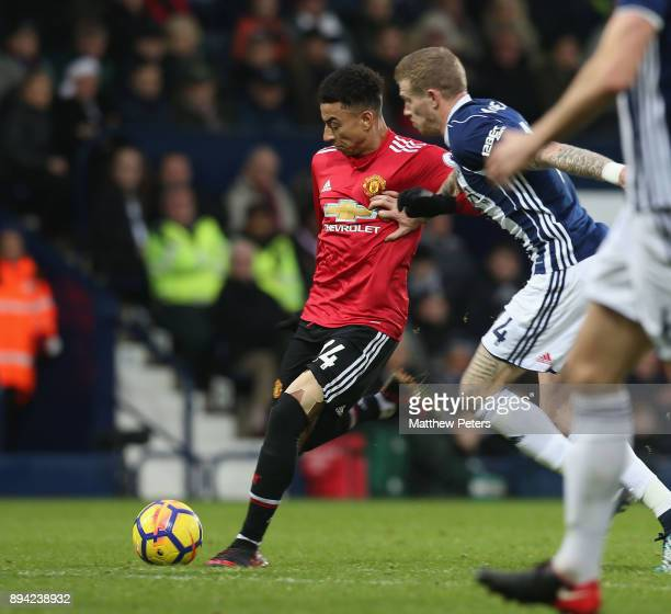 Jesse Lingard of Manchester United scores their second goal during the Premier League match between West Bromwich Albion and Manchester United at The...