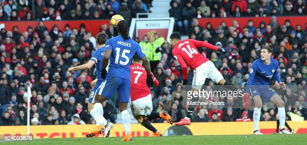 Jesse Lingard of Manchester United scores their second goal during the Premier League match between Manchester United and Chelsea at Old Trafford on...