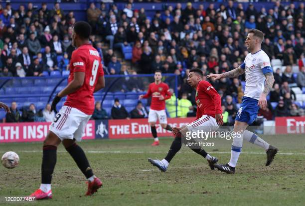 Jesse Lingard of Manchester United scores their third goal during the FA Cup Fourth Round match between Tranmere Rovers and Manchester United at...
