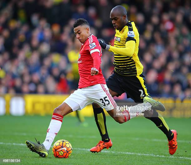 Jesse Lingard of Manchester United shoots at goal during the Barclays Premier League match between Watford and Manchester United at Vicarage Road on...
