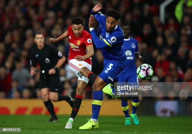 Jesse Lingard of Manchester United shoots during the Premier League match between Manchester United and Everton at Old Trafford on April 4 2017 in...