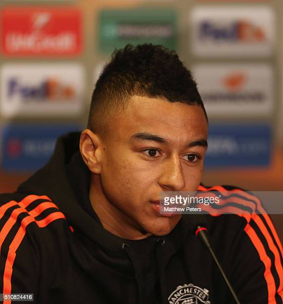 Jesse Lingard of Manchester United speaks during a press conference ahead of their UEFA Europa League match against FC Midtjylland at MCH Arena on...
