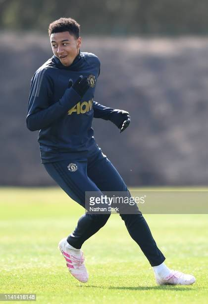 Jesse Lingard of Manchester United trains during the Manchester United training session ahead of the UEFA Champions League Quarter Final First Leg...