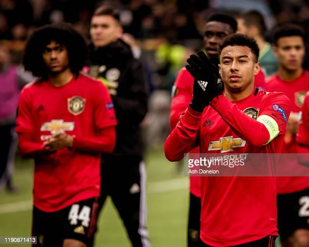 Jesse Lingard of Manchester United walks off after the UEFA Europa League group L match between FK Astana and Manchester United at Astana Arena on...