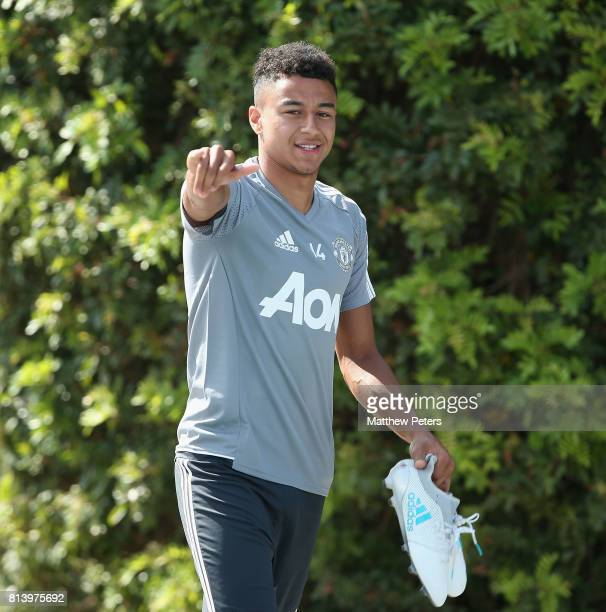 Jesse Lingard of Manchester United walks out ahead of a first team training session as part of their preseason tour of the USA at UCLA on July 13...