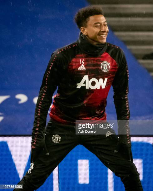 Jesse Lingard of Manchester United warms up ahead of the Carabao Cup fourth round match between Brighton and Hove Albion and Manchester United at...