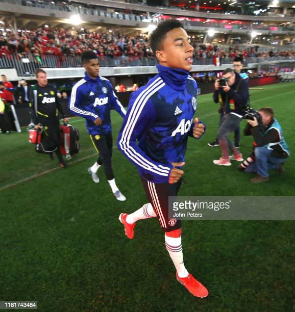 Jesse Lingard of Manchester United warms up ahead of the match between the Perth Glory and Manchester United at Optus Stadium on July 13 2019 in...