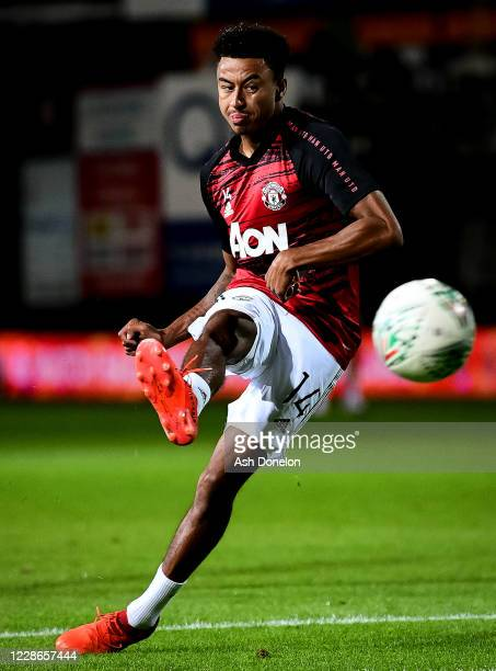 Jesse Lingard of Manchester United warms up prior to the Carabao Cup Third Round match between Luton Town and Manchester United at Kenilworth Road on...