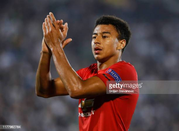 Jesse Lingard of Manchester United waves to the fans after the UEFA Europa League group L match between Partizan and Manchester United at Partizan...