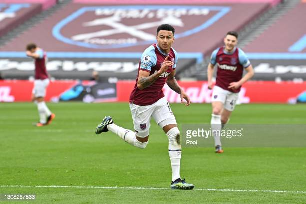 Jesse Lingard of West Ham United celebrates after scoring their side's first goal during the Premier League match between West Ham United and Arsenal...