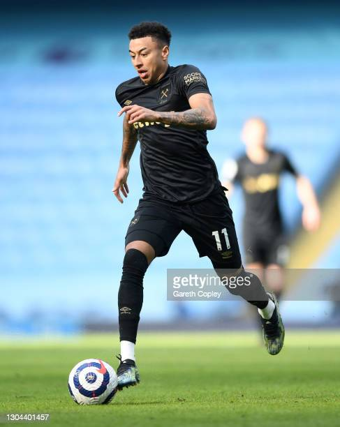 Jesse Lingard of West Ham United during the Premier League match between Manchester City and West Ham United at Etihad Stadium on February 27, 2021...