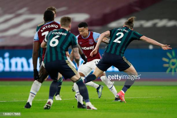 Jesse Lingard of West Ham United is fouled by Luke Ayling of Leeds United in the box leading to a penalty decision during the Premier League match...