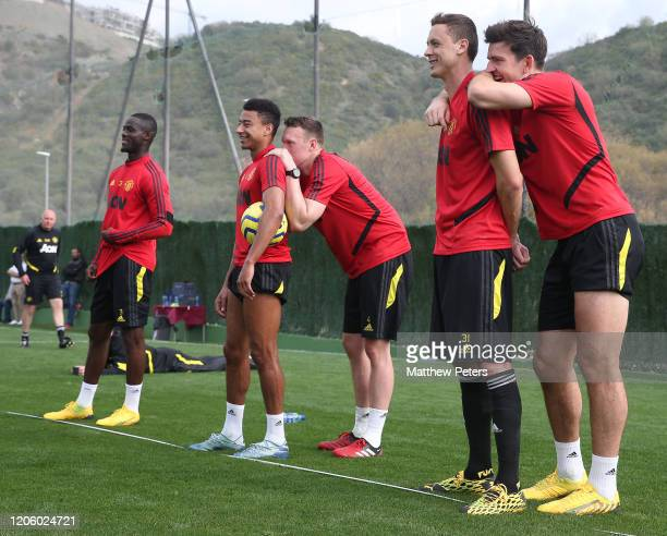 Jesse Lingard, Phil Jones, Nemanja Matic and Harry Maguire of Manchester United in action during a first team training session on February 13, 2020...